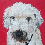 CUSTOM Dog Portrait Original Oil Painting 12x12 commissioned gift