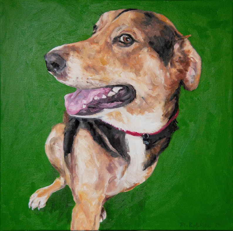 CUSTOM Pet Portrait Oil Painting 16x16 Pet Memorial Birthday image 0
