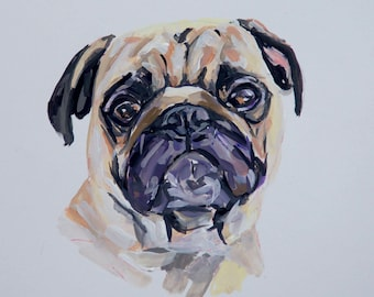 READY TO SHIP, Original dog painting on paperpug dog watercolor