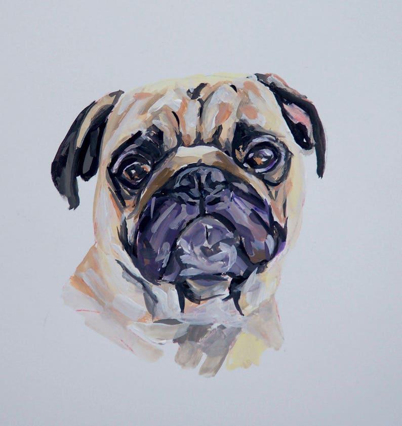 READY TO SHIP Original dog painting on paperpug dog image 0