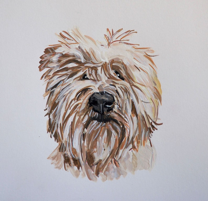 READY TO SHIP Original dog painting on paper doodle terrier image 0