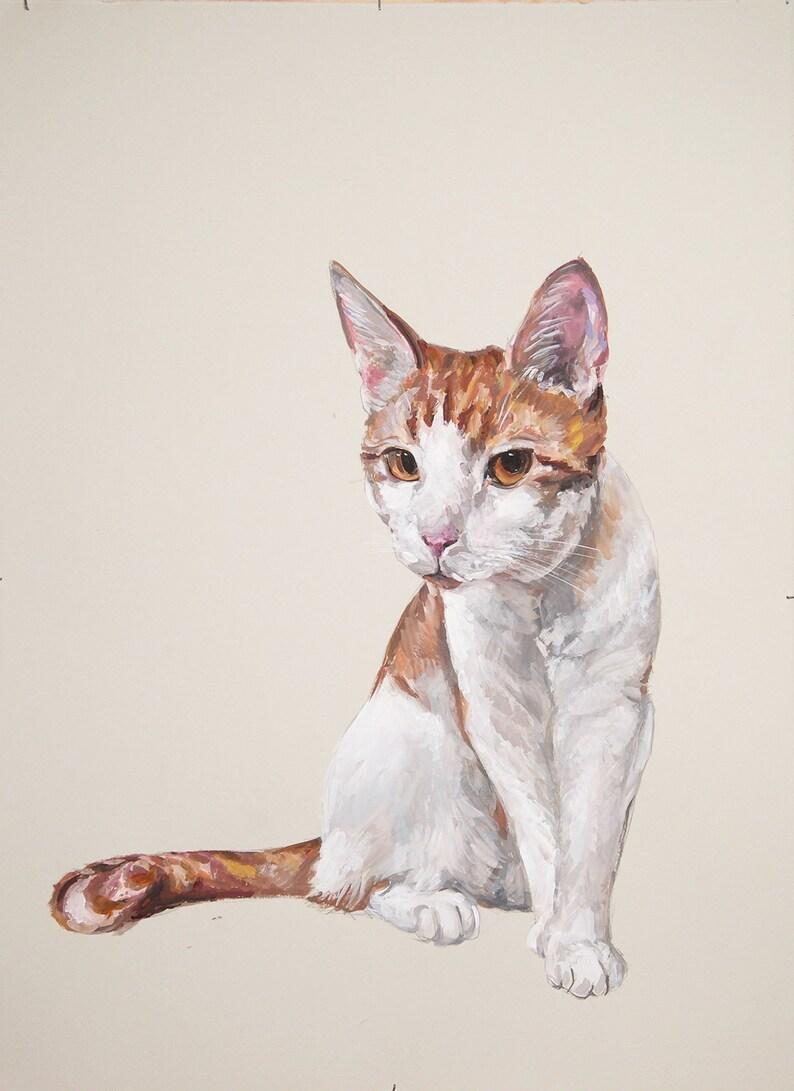 Ex-Large Custom Gouache watercolor pet portrait 22x30 Larger image 0