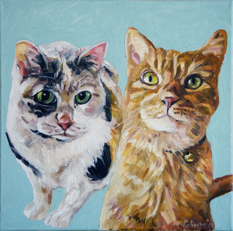 CUSTOM Pet Portrait Oil Painting 12x12 Pet Memorial Birthday image 0