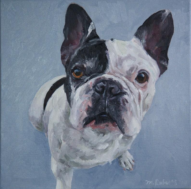 CUSTOM Pet Portrait Oil Painting 12x12 Pet Memorial Birthday image 0