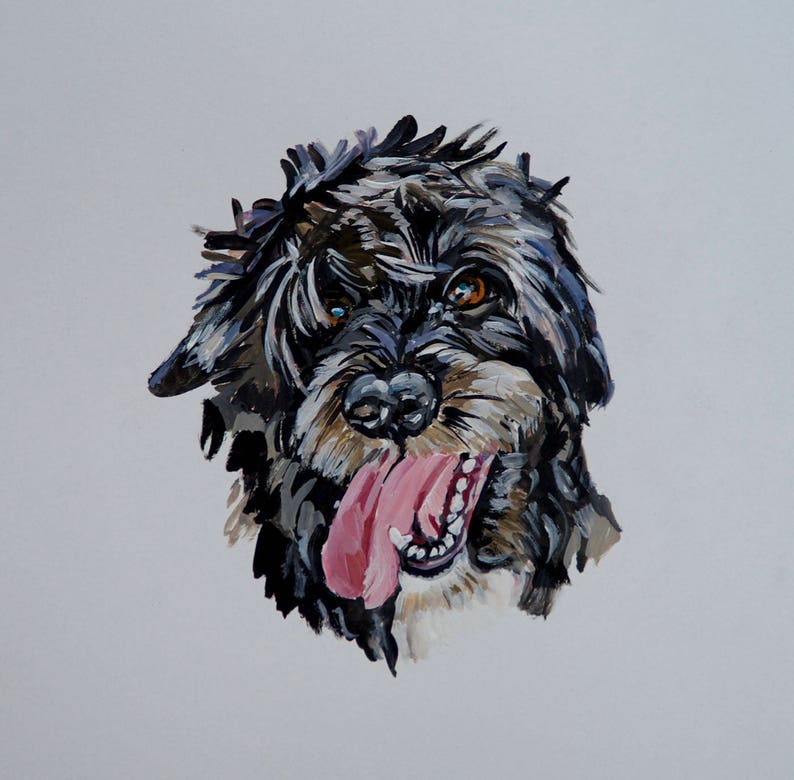 READY TO SHIP Original dog painting on paper dog watercolor image 0