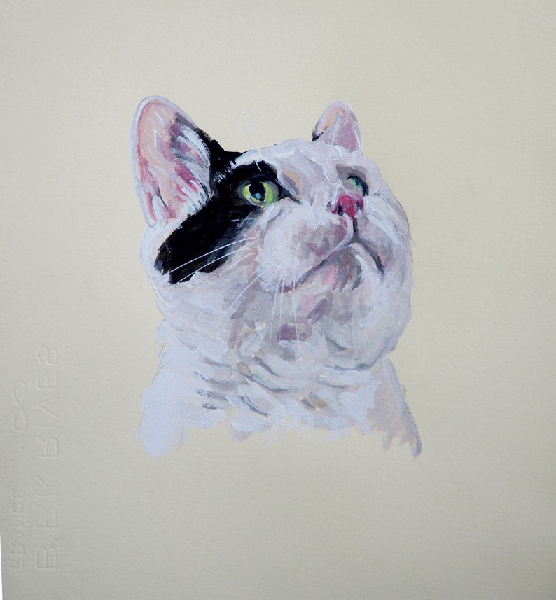 Custom  pet portrait Illustration gouache  watercolor on paper image 0
