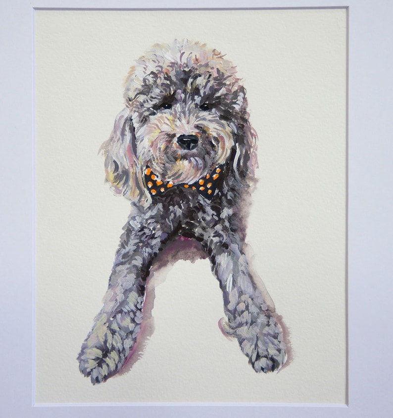 Custom pet portrait gouache  watercolor on paper image 0