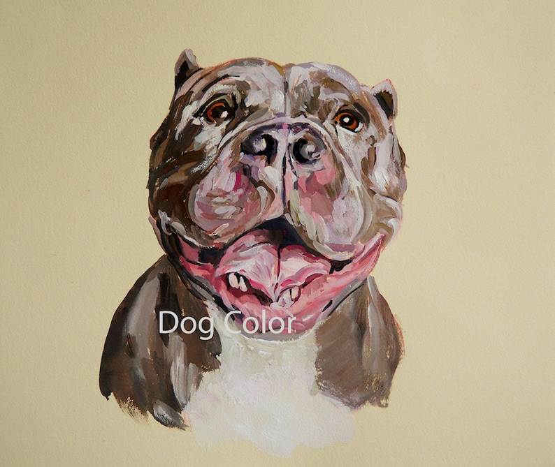 Ready to ship Original dog painting on paper Pitt Bull image 0