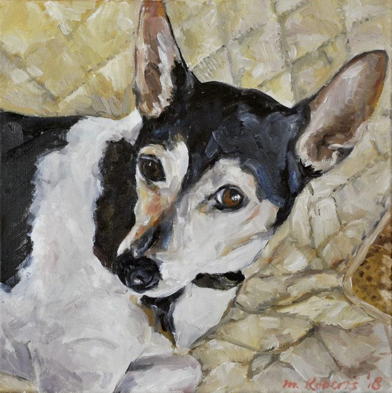CUSTOM Pet Portrait Oil Painting 12x12 Pet Memorial Gift image 0