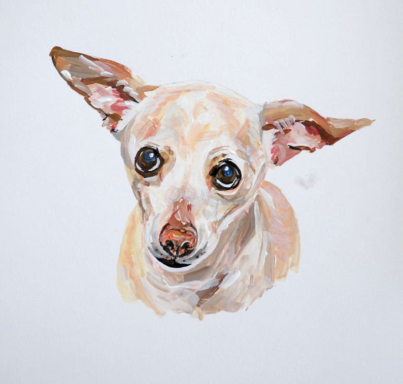 READY TO SHIP Original dog painting on paper Chihuahua dog image 0