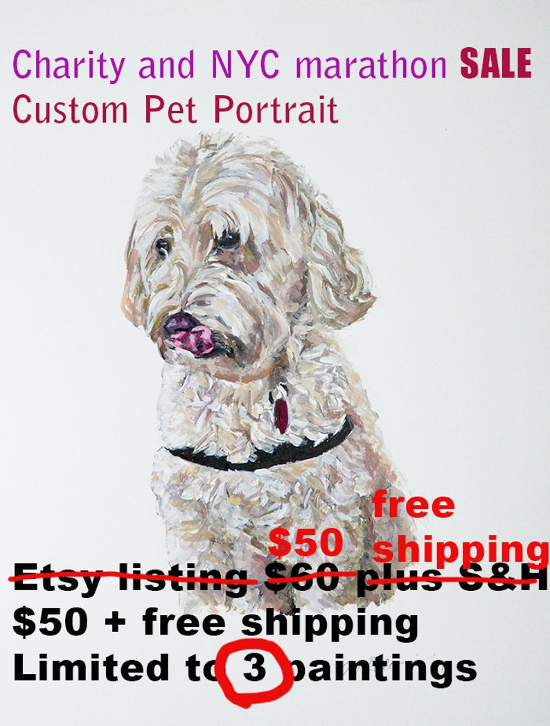 Custom pet portrait gouache watercolor Charity SALE limitd image 0