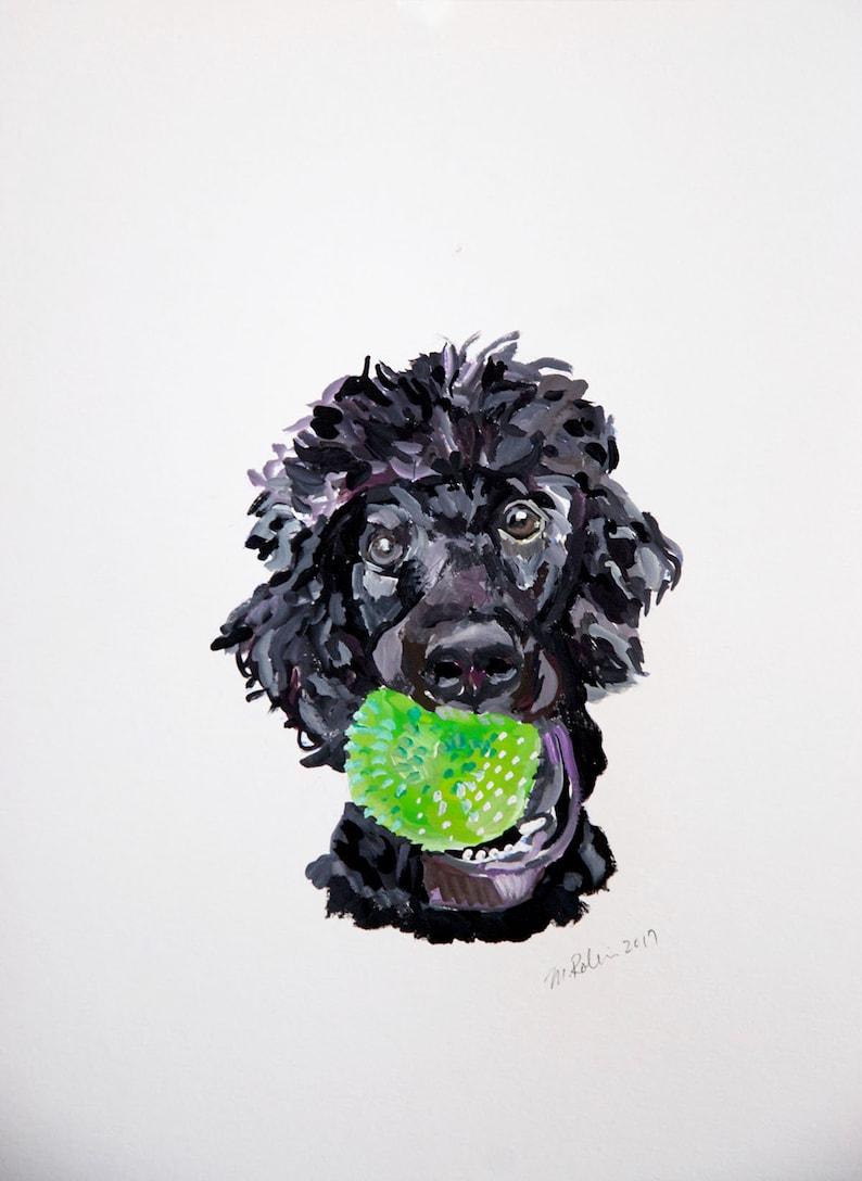 Custom pet portrait gouache  watercolor on paper image 0