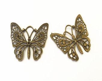 4pcs  Antique bronze butterfly charm pendant  35mmx48mm