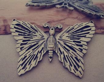 3pcs Antique bronze butterfly charm pendant  49mmx68mm