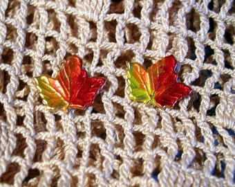 Hand Painted Vermont Maple Leaf Earrings. Small.