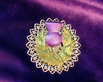 Purple Thistle Pin on Silver Filigree. Hand Painted.