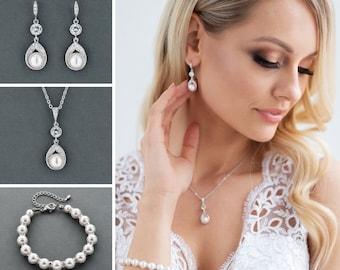 af415f7f1 Bridal Jewelry Set, Wedding Earrings Necklace, Pearl Bracelet, Wedding  Jewelry, Pearl Jewelry, Wedding Bracelet, Swarovski Jewelry, ASTRA