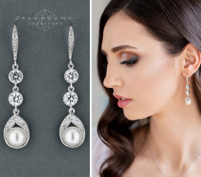 b9f7e7e64250b Bridal Pearl Earrings Wedding Jewelry Teardrop Pearl Earrings Long Dangle  Cubic Zirconia Swarovski Bridesmaid Gift Classic Astra