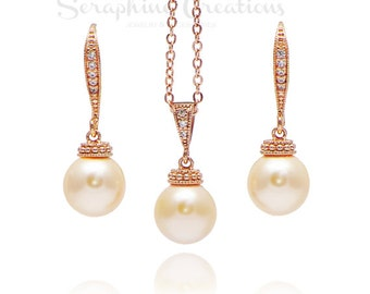 Peach and Rose Gold Jewelry Set Earrings Necklace Bridal Swarovski Pearl Pendant Classic Bridesmaid Gifts Bridal Set KPL10RG