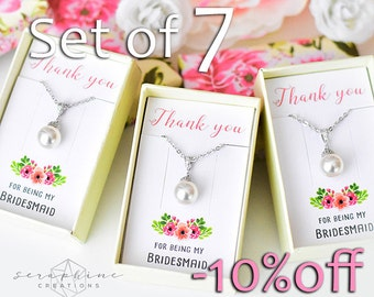 SET OF 7 Bridesmaid Necklace, Bridesmaid Jewelry Bridal Party Gift Bridal Shower Bridesmaid Gift Wedding Party Gift Bridesmaid Pendant W04