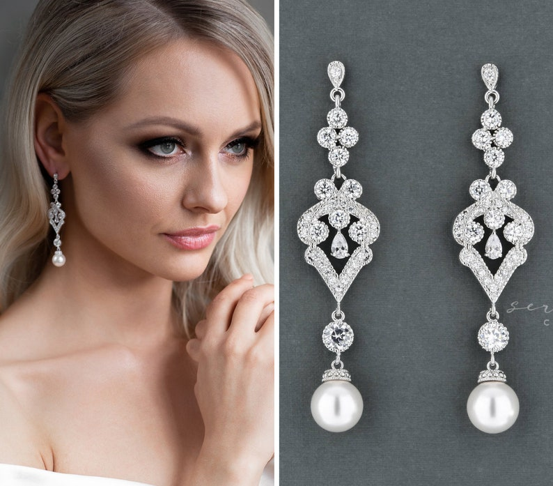 Bridal Earrings Wedding Jewelry Long Wedding Earrings Etsy