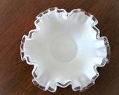 Fenton Silvercrest Ruffled Dish, Fenton Milk Glass, Vintage Fenton Glass