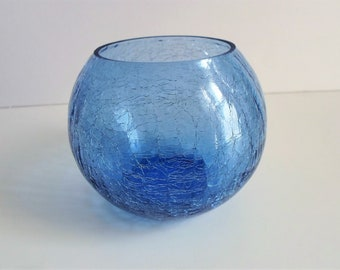 blue crackle glass crackle glass bowl cobalt blue vase glass flower vase colored glass collectible glass cobalt blue - Colored Glass Vases