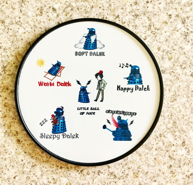 Dr Who Dalek Sofy Kitty Coaster In Red Blue Or Gold