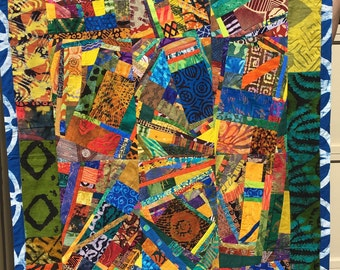 Art Quilt Wallhanging Oriented Horizontally or Vertically//World Quilt//Peace Quilt//Home Decor//Wall Art//Improv Quilt//HUMANITY