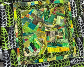 Green Fine Art Contemporary Quilt with Hand Stamped Border Fabric//Wall Quilt//Art Quilt Wallhanging//LEAF DANCE//Free Shipping