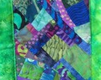 Narrow Art Quilt in Green and Purple//Contemporary Skinny Quilt//Modern Wallhanging//Home Decor//Improv Quilt//Quilt Art//GARDEN