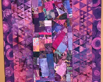 Long Purple Wall Hanging//Collage Art Quilt //PASSION//FREE SHIPPING
