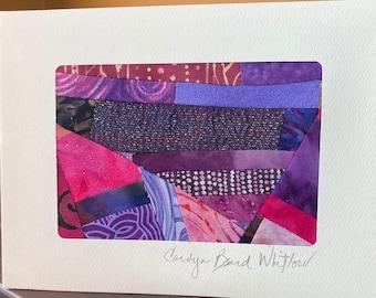 Contemporary Art Quilt Card//Blank Card//Mini Quilt//Handmade Card//Fiber Art Card//Collage Textile Art Notecard