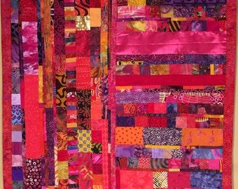 Modern Art Quilt Wall Hanging//American African Australian Aboriginal Fabric Art Quilt//Wall Art//Home Decor//MANKIND