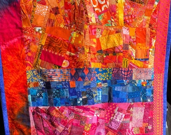 Modern Art Quilt Wallhanging in Orange Blue and Fuchsia//Wall Art//Home Decor//Quilt Art//MARDI GRAS//Free Shipping