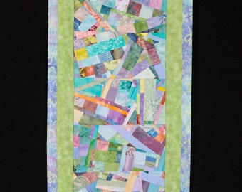 Contemporary Art Quilt Collage Wallhanging in Green Peach Blue//Wall Art//Modern Quilt Art//PASTEL//FREE SHIPPING