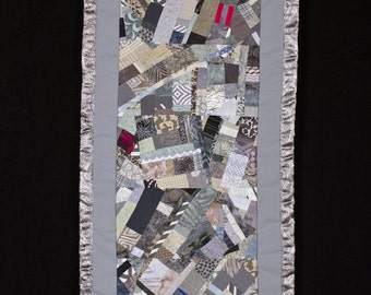 Modern Art Quilt Wall Hanging in Silver, Pewter and Gray/ICICLE//FREE SHIPPING