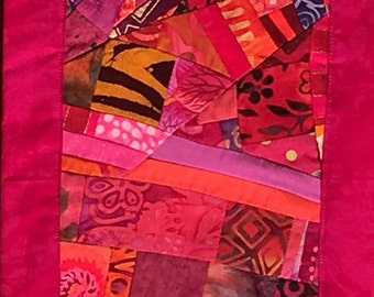 Narrow Abstract Art Quilt Wallhanging//Skinny Wall Art//Home Decor//Quilt Art//PASSION FRUIT//Free Shipping