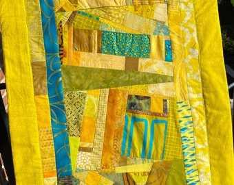 Long Contemporary Quilt Wall Hanging//Modern Art Quilt//Improv Quilt//Original Design Quilt//SUNSCAPE//Free Shipping