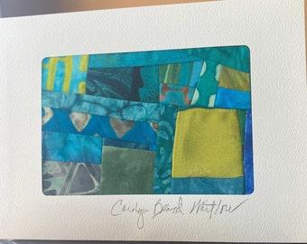 Collage Art Quilt Card//Handmade Blank Card//Original Design Art Card//Mini Quilt//Quilt Card//Textile Art Card
