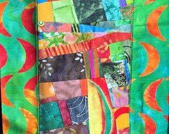Narrow Art Quilt Wallhanging//Wall Art//Home Decor//Quilt Art//WANING CRESCENT//Free Shipping