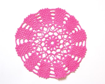 Pink fuchsia Circle Crochet doily, hand dyed vintage round Doily FREE SHIPPING