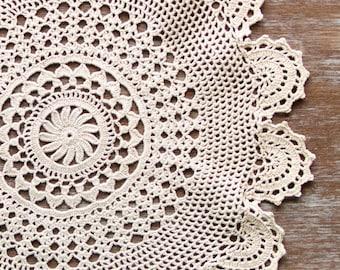 Cream ecru Crochet Vintage Doily