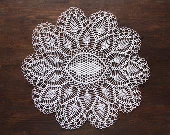 White Oval Crochet doily, vintage round Doily FREE SHIPPING