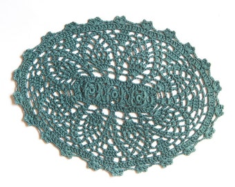 Dark Green Oval Crochet doily, hand dyed vintage Doily FREE SHIPPING