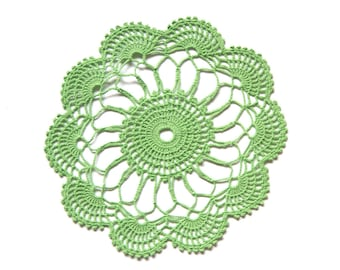 Green Circle Crochet doily, hand dyed vintage round Doily FREE SHIPPING