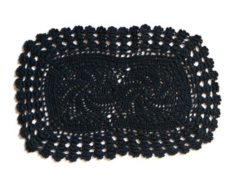 Black Oval Crochet doily, hand dyed vintage Doily FREE SHIPPING