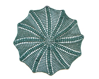 Dark Green Circle Crochet doily, hand dyed vintage round Doily FREE SHIPPING