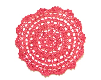 Red Coral Circle Crochet doily, hand dyed vintage round Doily FREE SHIPPING