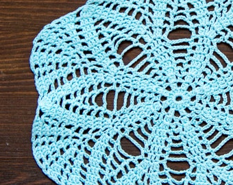 Light blue hand dyed Crochet Vintage Doily